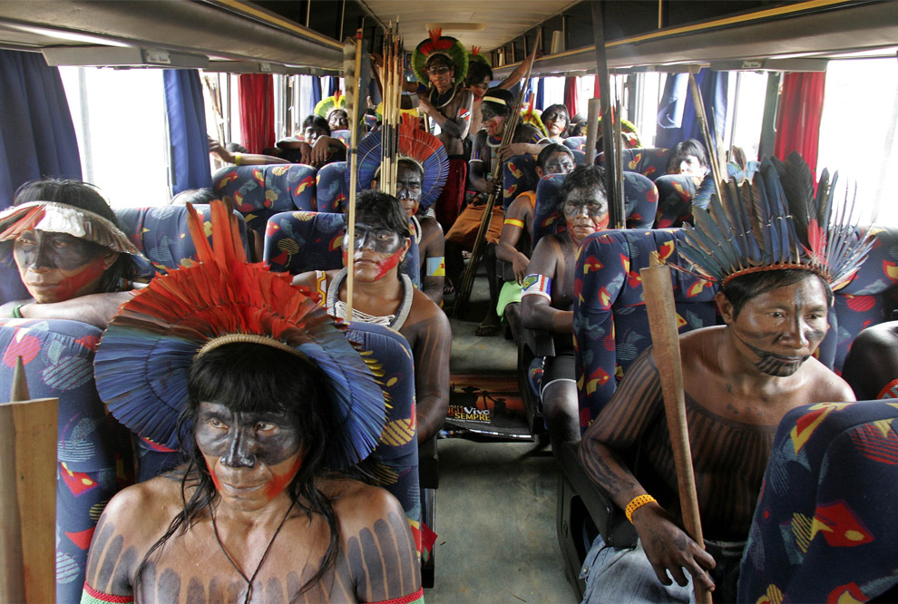 A busload of out of state protesters